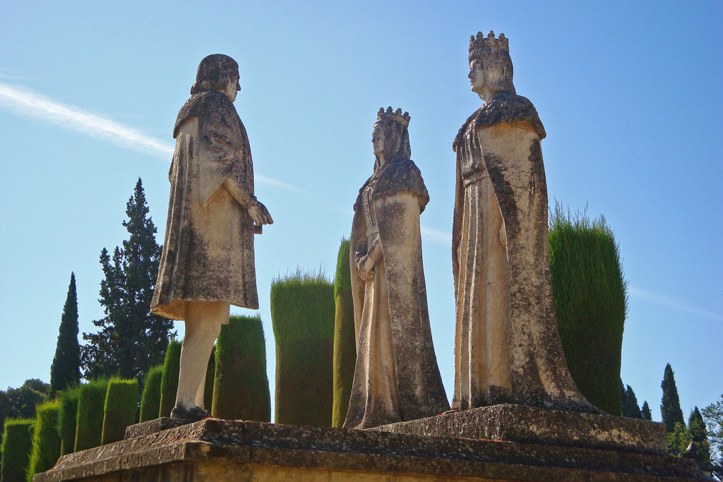 Isabella, Ferdinand and Columbus, this sculpture can be seen today in Cordoba.